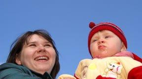 Momie heureuse avec l'enfant Images libres de droits