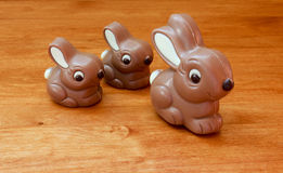 Momma and Babies. Milk chocolate Easter Bunny with 2 babies Royalty Free Stock Photos
