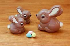Momma and baby bunnies with eggs. Chocolate momma bunny , 2 smaller bunnies and Easter eggs Royalty Free Stock Image