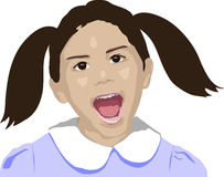 MOMMY. Illustration of young girl shouting or laughing on white background Stock Photography