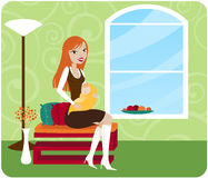 Mommy Chic. Stylish Mommy sits in her chic home and holds her baby royalty free illustration