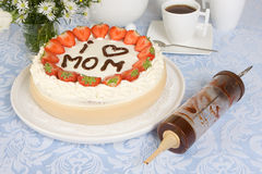 Mommy in chocolate. Mother's day cake with mommy written in chocolate Stock Images