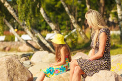 Mommy and daughter spending lovely time together. Royalty Free Stock Image