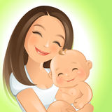 Mommy and I. Vector illustration of a happy mom and her baby Stock Image