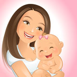 Mommy and I. Vector illustration of a happy mom and her baby Stock Images