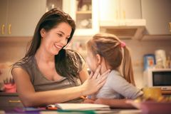 Mommy and me. Little girl have fun with mother. Stock Photos