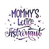 Mommy`s  Little Astronaut quote. Baby shower hand drawn lettering logo phrase. Vector script style text in space colors with stars and line decor. Doodle space royalty free illustration
