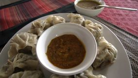 Momo - Traditional Nepal Dish. Authentic Cuisine. Asian Food. Top View stock video footage