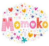 Momoko girls name decorative lettering type design Stock Photography