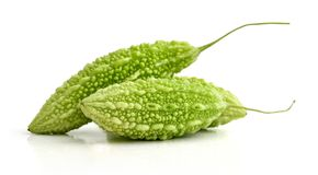 Momordica charantia isolated. On white background with clipping path Stock Images