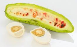 Momordica charantia and Salted egg Stock Photo