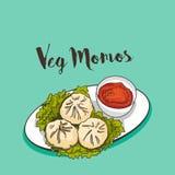 Momos do vapor do alimento de Indu Chinese ilustração royalty free