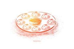 Momoschotel, smakelijke deegbollen met vlees het vullen en saus, traditionele Indiër, Chinees, nepalivoedsel royalty-vrije illustratie