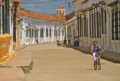 Mompos典型的街道,哥伦比亚 库存照片