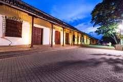 Mompox, Colombia at Night. Pedestrian street in Mompox, Colombia with beautiful colonial architecture at night royalty free stock photo