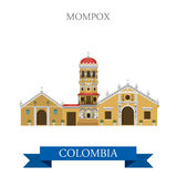 Mompox in Colombia vector flat attraction landmarks Royalty Free Stock Photos