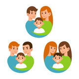 Moms and dads with children Stock Images