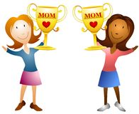 Moms Holding Trophies. An illustration featuring your choice of two women holding golden trophies Royalty Free Stock Photography