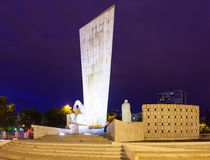 Momument a Calvo Sotelo na plaza de Castilla na noite Imagem de Stock Royalty Free