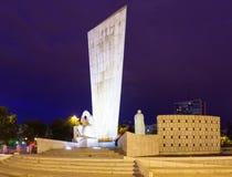 Momument to Calvo Sotelo at Plaza de Castilla in night. Madrid, Spain Royalty Free Stock Image