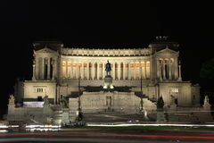 Momument to Victor Emanuelle II at night, Rome, It Royalty Free Stock Photos