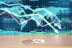 Monóculos e papel na tabela de madeira no gráfico de negócio com arro Fotografia de Stock Royalty Free