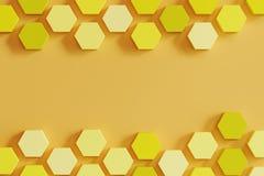 Monótono amarillo colmena-como hexágonos en fondo anaranjado claro ilustración del vector