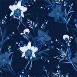 Monótono en azul del modelo inconsútil floral con las orquídeas Ilustraci?n drenada mano del vector Dise?o para la moda, tela, we libre illustration