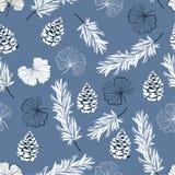 Monótono en ginko azul del esquema del otoño se va y nueces de pino en el sc ilustración del vector