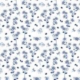 Monótono en las flores azules de la sombra cultiva un huerto el modelo inconsútil ilustración del vector