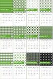 Monótono verde-oliva e o bastille coloriram o calendário geométrico 2016 dos testes padrões ilustração do vetor