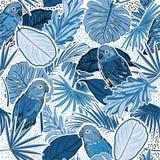 Monótonos na floresta tropical do tom azul com folhas, papagaios, folhas de palmeira, às bolinhas, pássaros e teste padrão sem em ilustração stock