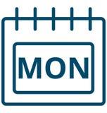 Mon, Δευτέρα, διανυσματικό εικονίδιο ημέρας ημερολογιακού ειδικό γεγονότος Δευτέρας που μπορεί να τροποποιηθεί εύκολα ή να εκδώσε ελεύθερη απεικόνιση δικαιώματος