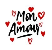 Mon Amour lettering, hearts illustration. My Love in French hand. Drawn calligraphy quote. Valentine`s day. Red on white Stock Photos