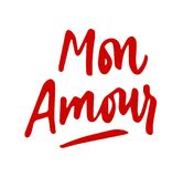 Mon Amour lettering. Love hand drawn calligraphy quote. Valentin. E`s day. Red on white Royalty Free Stock Photos
