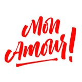 Mon Amour lettering Valentine day. Mon Amour lettering. Brush pen modern style. My Love in French hand drawn calligraphy quote. Valentine`s day. Red on white Royalty Free Stock Photo