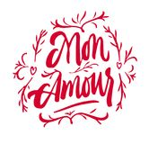 Mon Amour lettering Valentine day. Mon Amour lettering. My Love in French hand drawn calligraphy quote. Valentine`s day. Red on white Stock Photos