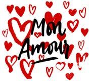 Mon Amour literowanie, kierowa ilustracja Mój miłość w Francuskiej ręce Zdjęcie Royalty Free