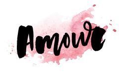 Mon amour postcard. My love in French. Phrase for Valentine`s day. Ink illustration. Modern brush calligraphy. Isolated on white. Mon amour postcard. My love in vector illustration