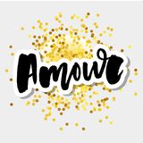 Mon amour postcard. My love in French. Phrase for Valentine`s day. Ink illustration. Modern brush calligraphy. Isolated on white. Mon amour postcard. My love in stock illustration