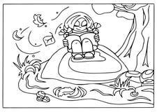 Mon automne heureux Fille lisant un livre, conception plate, d'isolement, colorant illustration de vecteur