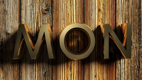 MON brass write on raw wood - 3D rendering Royalty Free Stock Photos