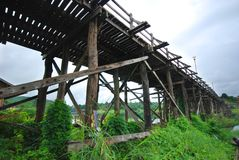 Mon bridge in Sangkhlaburi Kanchanaburi Stock Image