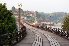 The mon bridge of  sangkhlaburi, kanchanaburi Royalty Free Stock Image