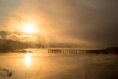 Mon bridge 2. Sunrise at Mon bridge Sangkhla Buri Thailand Stock Photos