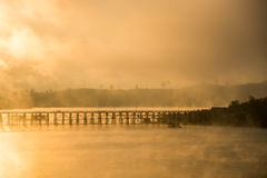 Mon bridge. Sunrise at Mon bridge Sangkhla Buri Thailand Royalty Free Stock Image