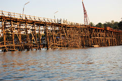 Mon Bridge Uttamanusorn, longest wooden bridge Royalty Free Stock Photos