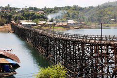 Mon Bridge Uttamanusorn, longest wooden bridge Royalty Free Stock Photography
