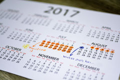 Mon calendrier de vacances de l'année 2017 Photos libres de droits