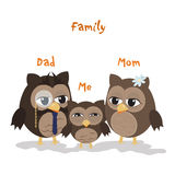 Mon,Dad and Me. /Cute illustration of happy owl family Stock Image